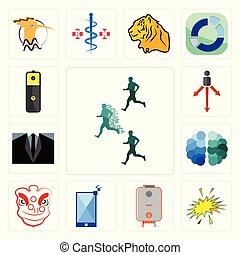 Set of competitive advantage, starburst, boiler, phone, lion dance, free brain, dress code, approach, lithium battery icons