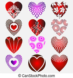 complex heart - Set of complex heart icon with calligraphic...