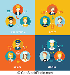 profession concept flat business icons set of services network social composition for infographics design web elements vector illustration