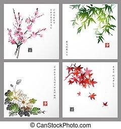Set of compositions reprezenting four seasons. Sakura...