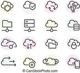 Set of computer cloud line icons -  data synchronisation, transfer, cloud computing settings icons