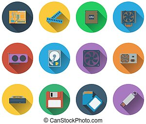 Set of computer hardware icons in flat design