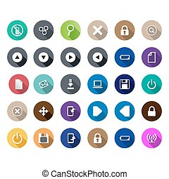 set of computer icons in a flat design