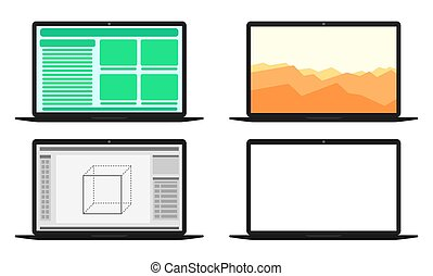 Set of computers with different screens