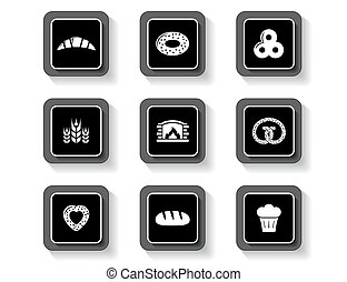 set of concept bakery products buttons