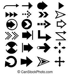 Set of concept black arrows