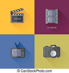 Set of concept icons for media industry (camera, TV, clapboard, filmstrip). Flat design with long shadows