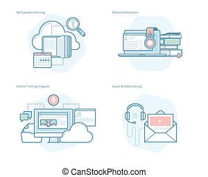 Set of concept line icons for distance education, audio and video library, online training and courses, self-paced e-learning