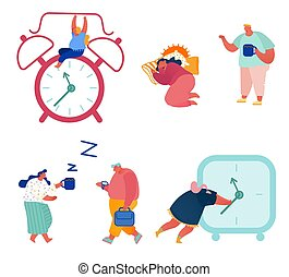 Set of Concept Time Management Illustrations: Businessman in a Hurry, Alarm Clock Rings, Sleeping Woman with Coffee, Man with Watch for Banner, Presentation, Social Media, Posters. Vector
