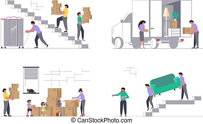 Moving truck with movers
