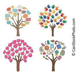 set of conceptual drawings with trees, love, message, school and open hands variations