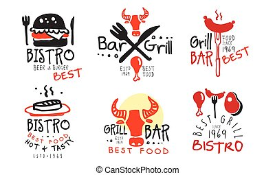 Set of concise black red barbecue logos. Vector illustration...