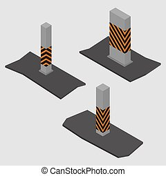 Set of concrete columns and pillars, vector illustration. -...