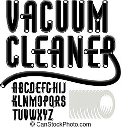 Set of condensed, tall modern vector capital, upper case alphabet letters isolated. Funky font for use as business poster design elements. Created using dimensional vacuum pipe style.