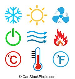 Set of conditioning icons. Vector illustration