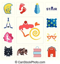 Set of confectionery, barn, book shop, grizzly bear, wolf face, masquerade, yoga studio, pillow, hockey sticks icons