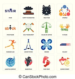 Set of confectionery, foot print, logistics company, drones, running club, scales justice, stick figure, wolf face, stair icons