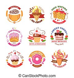 Set of Confectionery Logos Isolated. Vector Sweets