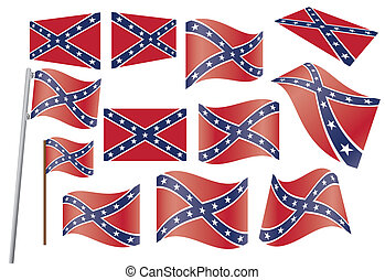 Confederate flag - set of Confederate flags vector ...