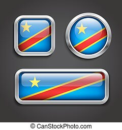 Congo flag glass buttons - Set of Congo flag glass buttons,...