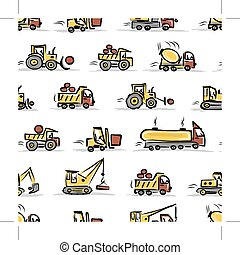 Set of construction equipment, seamless pattern design