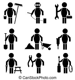 set of construction icons, vector