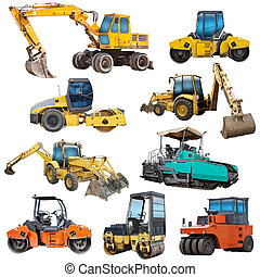 Set of construction machinery equipment isolated