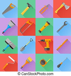 Set of construction tools flat icons.