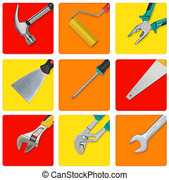 Set of construction tools in yellow, red and orange...