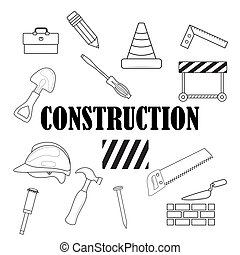 set of construction tools. On white background