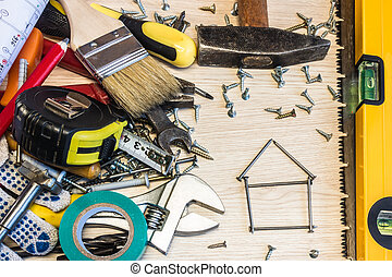 Set of construction tools, the tools lie around, center free, composition power tools.