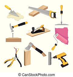 Set of construction tools. Vector illustration on white background.