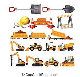 Set of construction vehicles