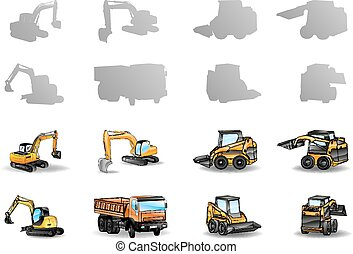 construction vehicles - set of construction vehicles - ...