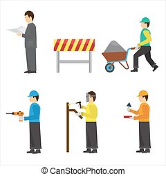Set of construction workers for info graphics. Flat vector icons