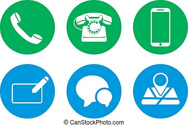 Set of contact us icons on circles. Vector illustration