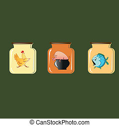 Set of containers for preservation. Vector design