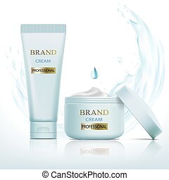 Set of containers with cosmetic cream. Splashes and drops of wat