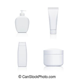 Set of containers with cosmetics