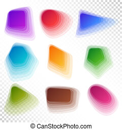 Set of Contemporary Blue, Brown, Green, Red, Pink, Yellow, Violet Geometric Shapes.