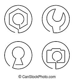 Set of continuous line logo on white background