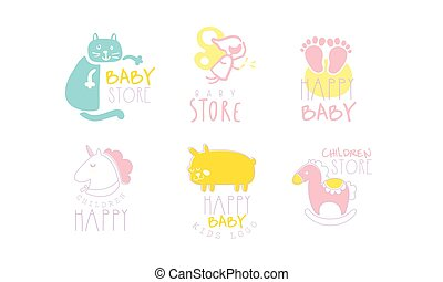 Set of contour cute logos for baby store. Vector illustration on a white background.