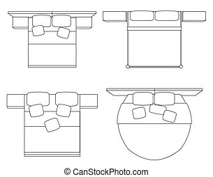 Set of contour drawing of double beds with a top view. Vector outline element