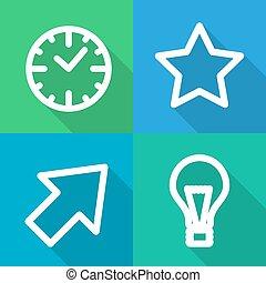 Set of contoured flat icons.