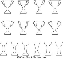 Set of contours of award cups and trophies, vector illustration