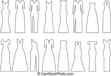 Set of contours of evening dresses, vector illustration