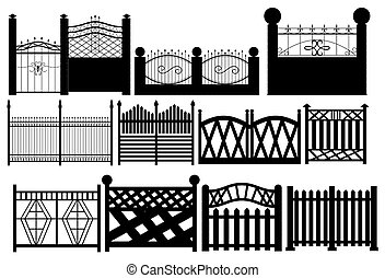 Set of contours of fence on white background. 3d rendering