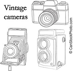 set of contours old vintage cameras