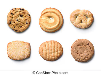set of cookies isolated on white background