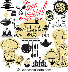 Set of cooking symbols, hand drawn pictures - food and chief silhouettes and hand written text - Bon Appetit